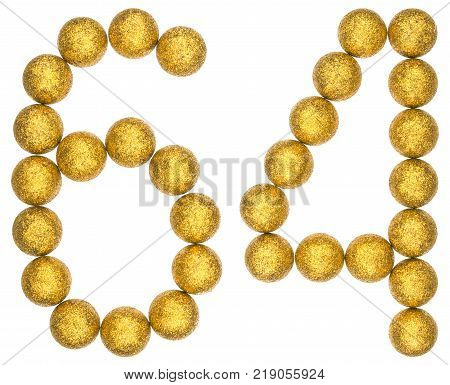 Numeral 64 sixty four from decorative balls isolated on white background
