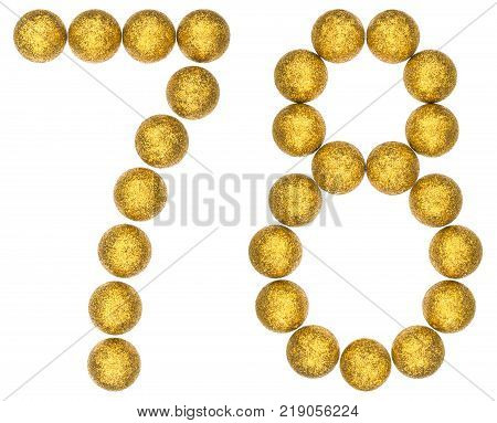 Numeral 78 seventy eight from decorative balls isolated on white background