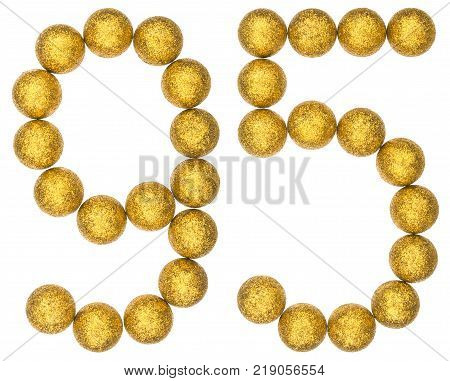 Numeral 95 ninety five from decorative balls isolated on white background