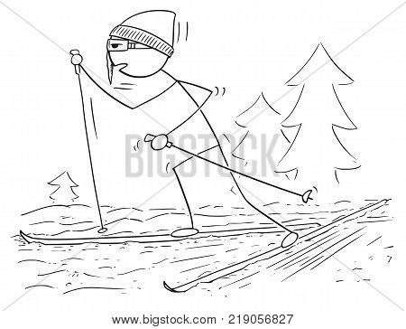 Vector Cartoon Of Basketball Player Running And Dribbling With Ball
