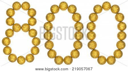 Numeral 800 eight hundred from decorative balls isolated on white background