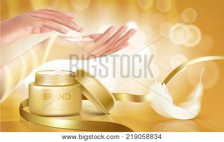 Gold jar with open lid is full of cosmetic cream on golden background with womens hands, ribbon and white feather, vector realistic. Template mock up for branding to promote luxury cosmetic product