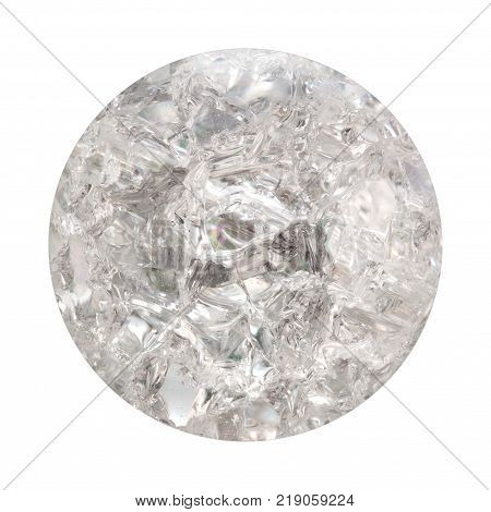 The texture of a transparent white glass ball with cracks inside and refraction of light