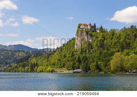 View Of Bled Castle On The Bled Lake.