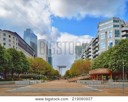 View of the La Defense district in Paris France.