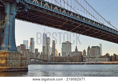 View of Manhattan from the Brooklyn Bridge Park.