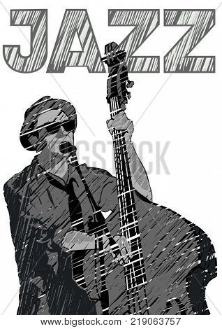 Musician with bass in country style on a white background