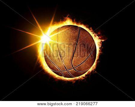 3D illustration of fiery basketball ball like solar eclipse on black background