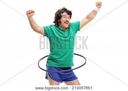 Retro sportsman exercising with a hula hoop isolated on white background