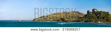 180 degree panorama of mountains and beaches in Dominican Republic