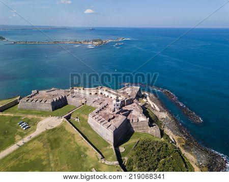 Aerial view of El Morro fortress in San Juan, Puerto Rico.