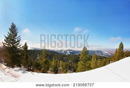 bogus basis ski resort in boise idaho above the city during winter