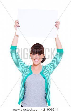 attractive young woman advertising. isolated on white background