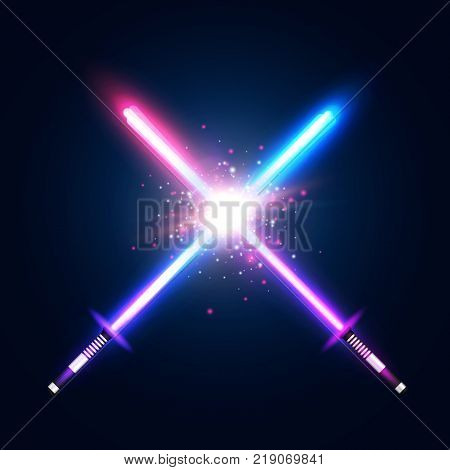 Two crossed light neon swords fight. Blue and violet crossing laser sabers war. Club logo or emblem. Glowing rays in space. Battle elements with star, flash and particles. Colorful vector illustration