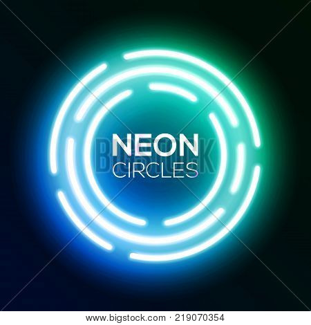 Blue gradient neon light banner. Shining round techno circles. Night club electric bright 3d sign board design on dark blue backdrop. Neon abstract background with glow Technology vector illustration.