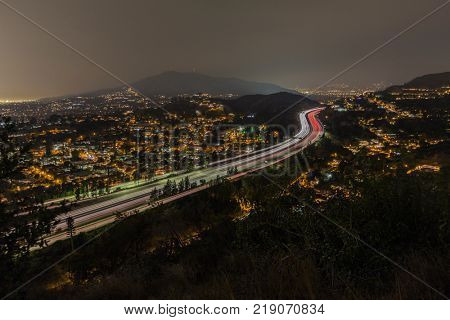 Night view of the Glendale 2 Freeway near Los Angeles, California.