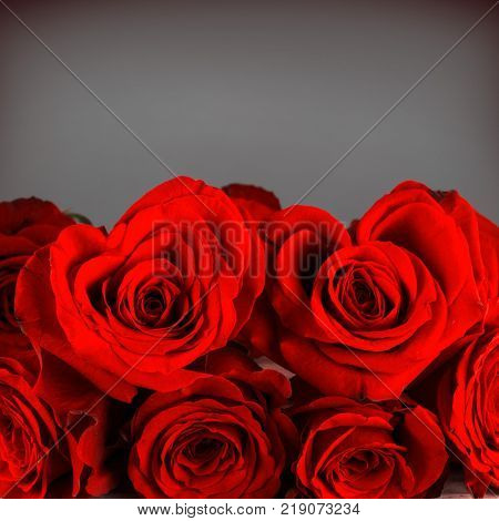 Bouquet of heart shaped roses for Valentines day