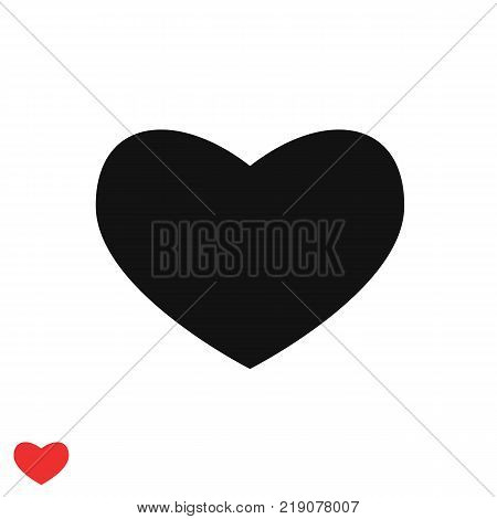 Black heart vector icon.Wide heart pattern. Red heart