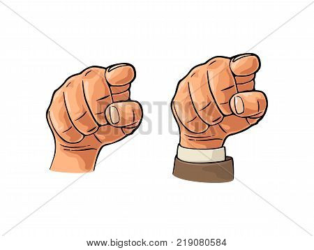 Pointing finger at viewer, from front. Vector color flat illustration isolated on a white background. Male hand in sleeve suit and without. Sign for web, poster, info graphic
