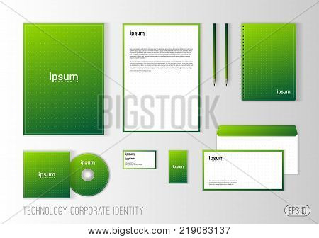 Corporate identity template for technology company, modern stationery design for business. Brochure cover, letterhead, envelope, business card, pen, CD cover. Minimalistic brand identity.
