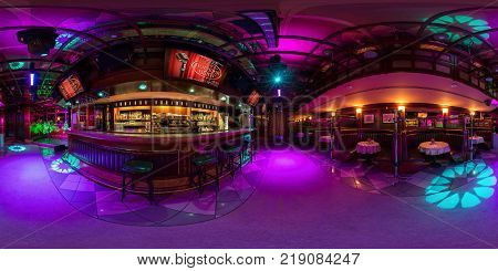 MINSK BELARUS - AUGUST 5 2016: Full spherical 360 by 180 degrees seamless panorama in equirectangular equidistant projection panorama in interior stylish karaoke bar night club. VR content