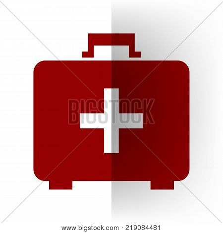 Medical First aid box sign. Vector. Bordo icon on white bending paper background.