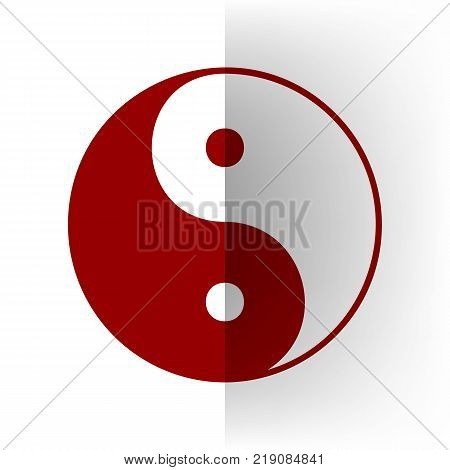 Ying yang symbol of harmony and balance. Vector. Bordo icon on white bending paper background.