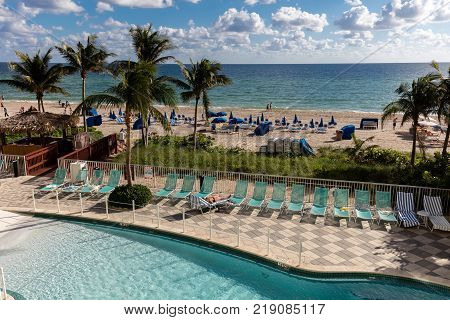 North Miami Beach Florida December 5 2017: DoubleTree Resort Hotel Ocean Point North Miami Beach in Sunny Isles Florida