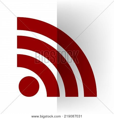 RSS sign illustration. Vector. Bordo icon on white bending paper background.