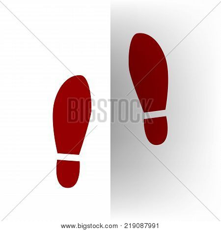 Imprint soles shoes sign. Vector. Bordo icon on white bending paper background.