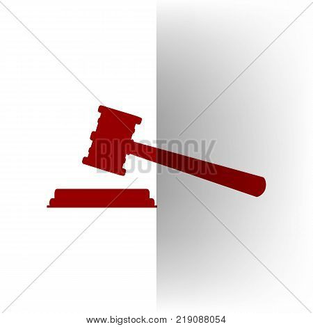 Justice hammer sign. Vector. Bordo icon on white bending paper background.