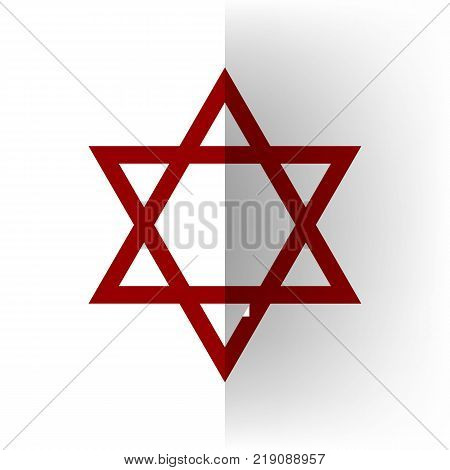Shield Magen David Star. Symbol of Israel. Vector. Bordo icon on white bending paper background.