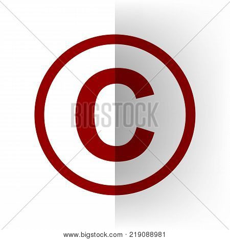 Copyright sign illustration. Vector. Bordo icon on white bending paper background.