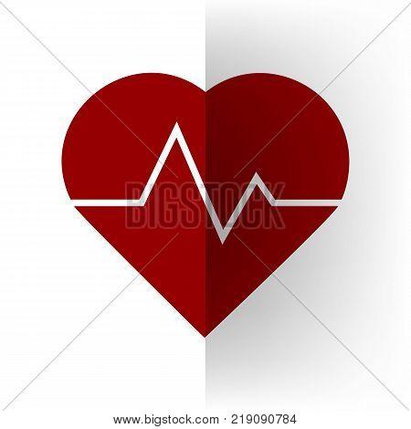 Heartbeat sign illustration. Vector. Bordo icon on white bending paper background.
