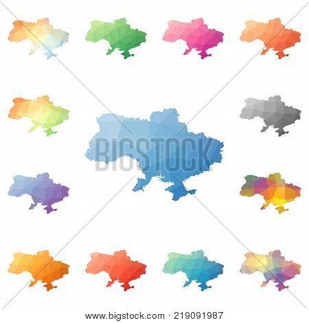 Uganda Polygonal Map. Mosaic Style Maps Collection. Bright Abstract Tessellation, Geometric, Low Pol