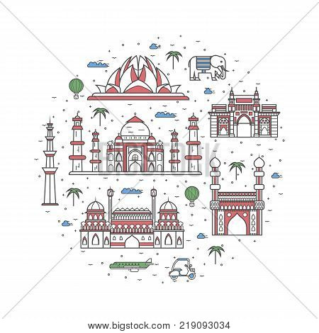 India travel poster with national architectural attractions. Historic indian famous landmarks and traditional symbols on white background. Touristic advertising vector layout in trendy linear style.
