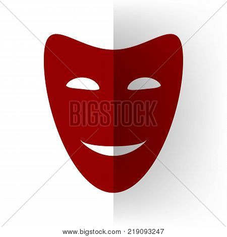 Comedy theatrical masks. Vector. Bordo icon on white bending paper background.