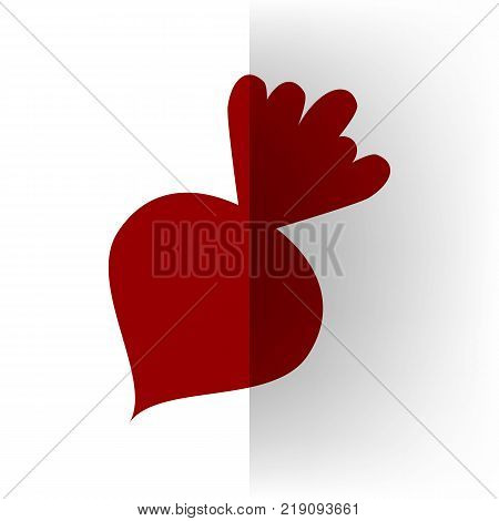 Beet simple sign. Vector. Bordo icon on white bending paper background.