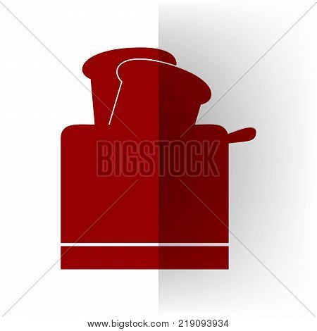 Toaster simple sign. Vector. Bordo icon on white bending paper background.