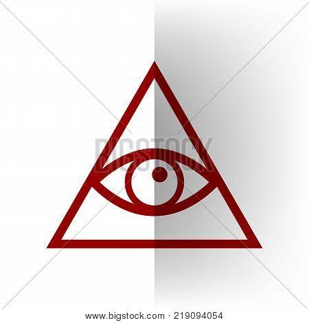 All seeing eye pyramid symbol. Freemason and spiritual. Vector. Bordo icon on white bending paper background.