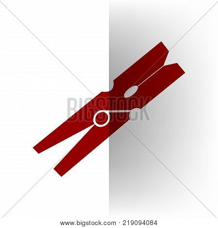 Clothes peg sign. Vector. Bordo icon on white bending paper background.