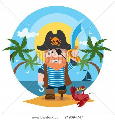 Pirate, pirate legends, adventure. Vector illustration isolated on white background.