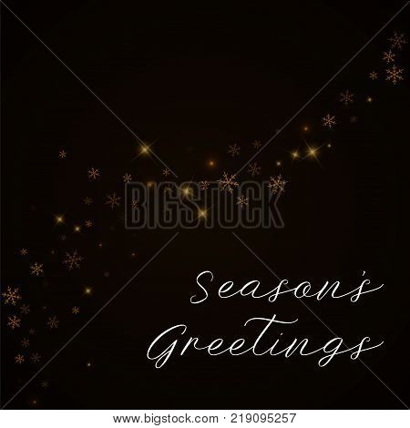 Season's Greetings Greeting Card. Sparse Starry Snow Background. Sparse Starry Snow On Brown Backgro