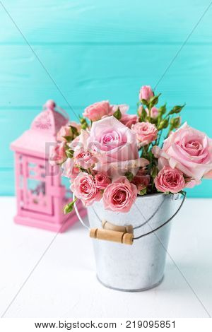 Bunch of tender pink roses flowers in pot and decorative lantern on white wooden background against turquoise wall. Floral still life. Selective focus. Place for text.