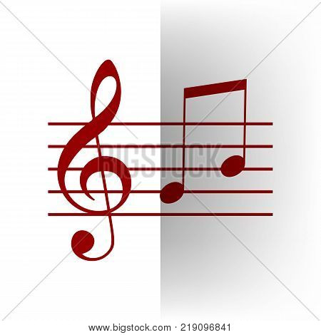 Music violin clef sign. G-clef and notes G, H. Vector. Bordo icon on white bending paper background.