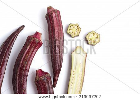 Fresh Red okra on a white background.