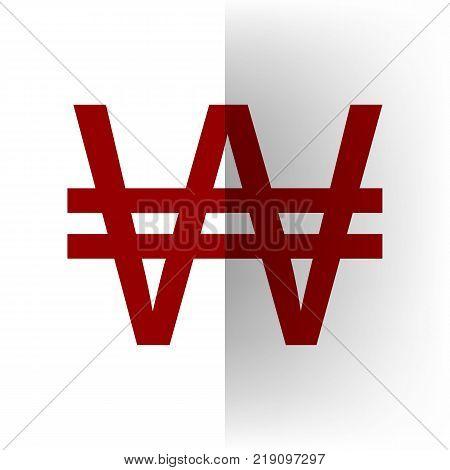 Won sign. Vector. Bordo icon on white bending paper background.