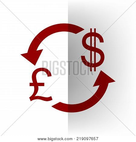 Currency exchange sign. UK: Pound and US Dollar. Vector. Bordo icon on white bending paper background.