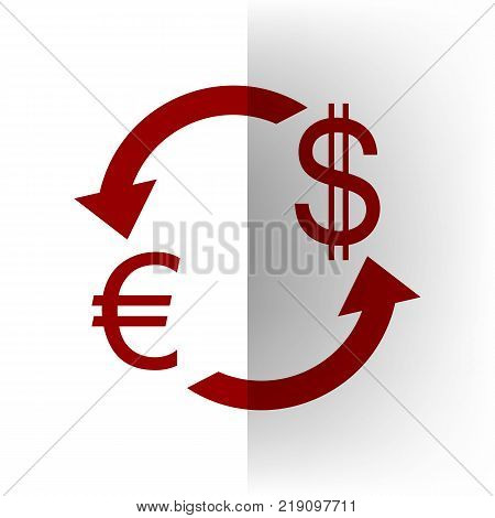 Currency exchange sign. Euro and US Dollar. Vector. Bordo icon on white bending paper background.