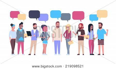 Group Of Hipsters People With Chat Bubbles Casual Young Men And Women Mix Race Isolated On White Background Flat Vector Illustration